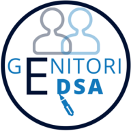Logo rotondo: al centro il testo genitori e DSA, in alto le silhouette dei genitori, in basso una penna