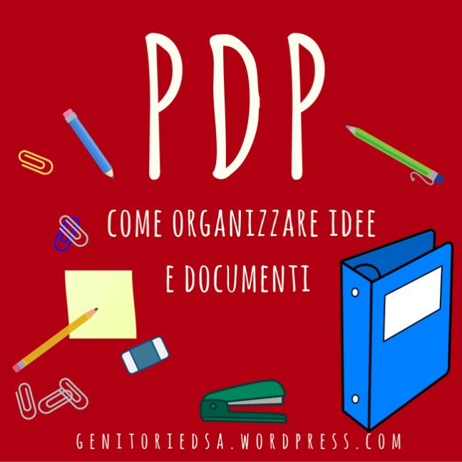 PDP come organizzare idee e materiali affiancato dai disegni di un quaderno ad anelli e altro materiale di cancelleria